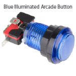 Blue Illuminated Arcade Button
